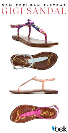 A classic gets a color makeover for spring. These Sam Edelman Gigi sandals are perfect for your flirty dresses for date night or lunch with the girls in your casual jeans and tee. Choose a new spring pink or go wild with one of the beaded options. The style possibilities are endless! Shop these and other sandals at belk.com