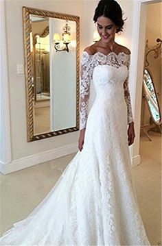 New Elegant Lace Wedding Dresses White Ivory Off The Shoulder Garden Bride Gown