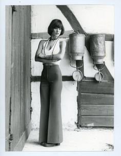Vintage fashion photo - 1970s look- womens fashion- model - flare pants - b&w photo - sexy sporty girl - fashion photography