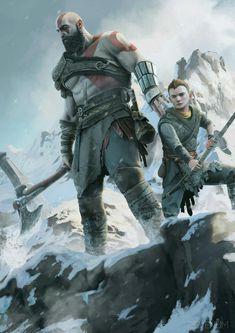 《God of War / Kratos and Atreus》 Video Game Art, Video Games, God Of War Game, God Of War Series, Kratos God Of War, Bd Comics, Game Concept Art, Norse Mythology, Greek Mythology