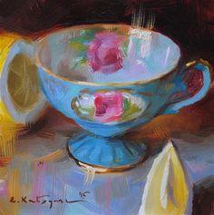 "Daily Paintworks - ""Sky Blue and Lemon"" - Original Fine Art for Sale - © Elena Katsyura"