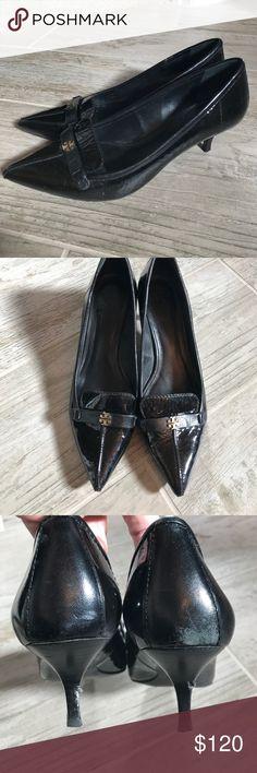 Tory Burch black kitten heels Great 2inch TB kitten heels with small gold TB emblem. Wear shown in pics. Great pair of heels! Tory Burch Shoes Heels