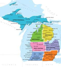 Map of Michigan--Need to venture further north & explore the Upper Peninsula, Sault Ste. Marie, Mackinac Island, and Pictured Rocks National Lakeshore