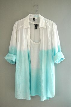 DIY white dip dyed button up