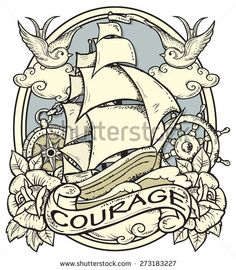 Vector illustration of ship and sailor atributes.Tattoo-art design. Neo traditional tattoo style. Hand-drawn vector image. Good for printing on T-shirt. EPS8 file/Easy to edit.