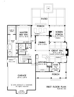 House Plan 1423 has been named The Carson! This two-story Craftsman design is wrapped in cedar shakes and metal and timber accents give a rustic appearance. The master bedroom enjoys privacy on the first floor while two additional bedrooms have abundant space upstairs with a shared bathroom. The kitchen offers front facing views while the great room looks out in three directions. Rear porches included a screened porch with fireplace. #WeDesignDreams