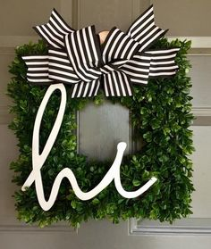 Great No Cost Boxwood Wreath front door Strategies Our own papers boxwood wreath is the perfect undertaking to generate on the personal chopping machin Initial Wreath, Frame Wreath, Diy Wreath, Wreath Ideas, Front Door Initial, Letter Wreath, Tulle Wreath, Burlap Wreaths, Front Door Decor