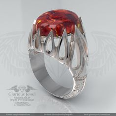 Glorious ring with amber or oval garnet by GloriousJewelOnline