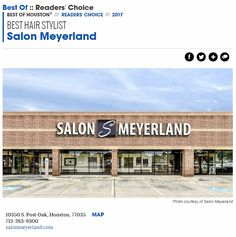 """Salon Meyerland won the """"Best Hair Stylists"""" award in the Houston Press for 2017!  SO EXCITED and so VERY PROUD of the awesome stylists in our salon!"""