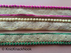Green / Fuchsia Pink / Beige Velvet Trim With Off White Seed