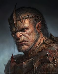 Uncle - Kauth - Chief of the Doth'Kil Clan // Half orc by roman tishenin Spectrum The Best in Contemporary Fantastic Art Dark Fantasy, Fantasy Rpg, Medieval Fantasy, Fantasy Portraits, Character Portraits, Fantasy Artwork, Dungeons And Dragons Characters, Dnd Characters, Fantasy Character Design
