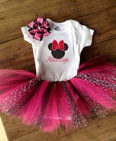 Minnie Mouse Birthday Party!!    Minnie Mouse tutu set by BusyBowsbyMandy on Etsy, $32.99