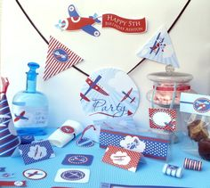 Flying High Airplanes Baby Shower or Birthday Party Printables Set