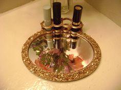 Vintage Ormolu Hollywood Regency Mirrored Lipstick Holder