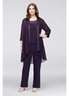 Chiffon Plus Size Pantsuit with High-Low Jacket Style Mother Of The Bride Plus Size, Mother Of The Bride Dresses Long, Plus Size Womens Clothing, Plus Size Fashion, Clothes For Women, Necklines For Dresses, Dresses With Sleeves, Peplum Dresses, Dress Tops
