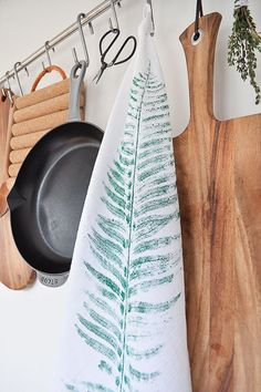 Learn how to make this leaf printed tea towel on the blog. It's an easy and affordable DIY.