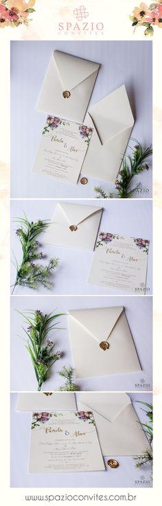 2eeef0eabf Convite de casamento clássico com lacre de cera dourado