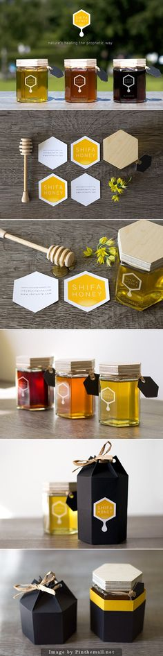 Shifa Honey packaging and logo design. I love the hexagon jars for honey packaging. It just makes sense. packaging and label design Web Design, Logo Design, Website Design, Graphic Design Branding, Label Design, Package Design, Packaging Box, Honey Packaging, Brand Packaging