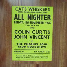Rare Original Vintage 1975 Cats Whiskers Leeds All Nighter Northern Soul Music Poster Colin Curtis John Vincent Phoenix Soul Peterborough by VintageBlackCatz on Etsy