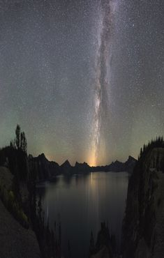 Image: The Milky Way illumines night sky over Crater Lake National Park, Oregon. White Image: The Milky Way illumines night sky over Crater Lake National Park, Oregon. National Park Camping, Crater Lake National Park, National Parks, Milky Way Photography, Night Photography, Photography Tips, Digital Photography, Photography Courses, Photography Settings