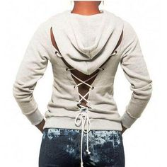 50134e05ae Unique lace up hoodie with strings for women backless sweatshirt Diy Lace  Up Sweatshirt