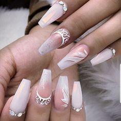 ¿Te gusta lo que ves? Glam Nails, Pink Nails, Cute Nails, Pretty Nails, My Nails, Best Acrylic Nails, Acrylic Nail Designs, Nail Art Designs, Bride Nails