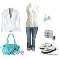 White on White with a Pop of Turquoise, created by archimedes16 on Polyvore