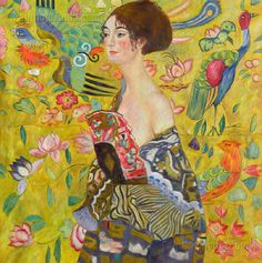Lady with Fan Gustav Klimt hand-painted oil by PaintingMania