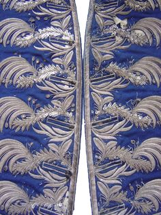 Embroidery from a court coat, silver thread,1770 -1780. SARAH ELIZABETH GALLERY http://antique-textile.blogspot.com.au/#