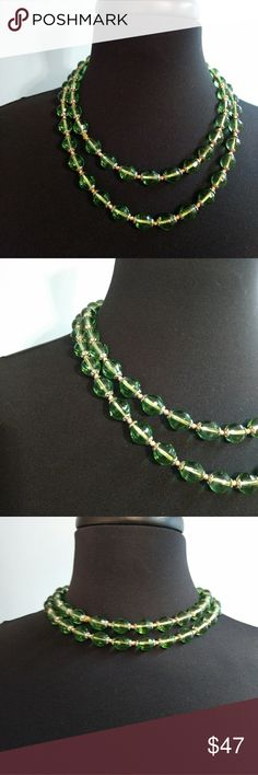 Vtg Two Tiered Czech Glass Beaded Necklace Vtg Czech Glass Beaded Necklace. Beautiful green faceted beads with small silver tone flower separators. Measurements forthcoming. Looks like some clever person added the chain and clasp closure to create the two tiered layers. Excellent Vintage Condition EVC. Very nice weighty piece. Vintage Jewelry Necklaces