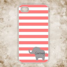 iPhone 5 Case elephant - iPhone 5s case monogram - Coral stripes iPhone 5 cover - Personalized with name on Etsy, $19.99