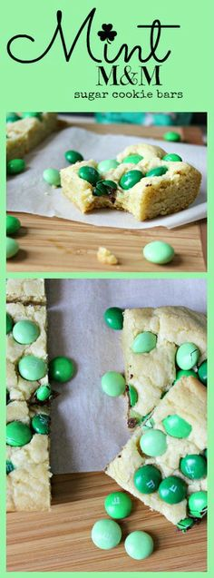 Renee's Kitchen Adventures: Mint M&M Sugar Cookie Bars in #green  Customize with your favorite M&M colors!