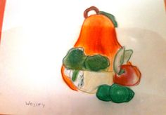 Using oil pastel and watercolor ~ student art work at TaDa! art studio