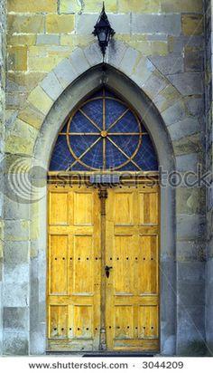 yellow door with nice design above