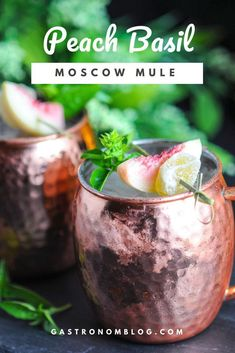 Peach Basil Moscow Mules are the perfect summer cocktail. Vodka, peaches, basil, lime and ginger beer combine for a refreshing cocktail recipe. Basil Cocktail, Cocktail Syrups, Ginger Ale, Refreshing Cocktails, Classic Cocktails, Simple Vodka Drinks, Craft Cocktails, Party Drinks, Margaritas