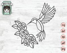 Hummingbird SVG file hummingbird and flowers svg flowers Bird Clipart, Textured Background, Painted Rocks, Svg File, Embroidery Patterns, Hand Lettering, Coloring Pages, Art Drawings, Stencils