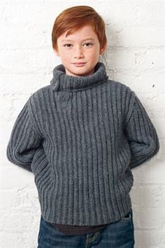 The stitch pattern in this sideways-construction pullover creates vertical ribbing that will grow a bit with the boy. The sweater pieces are joined with a slip-stitch seam for easy finishing. Slip-stitch ribbing makes up the versatile split-neck snap p
