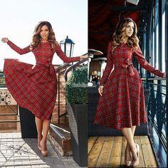 Fashion Women s Casual Long Sleeve Waist Plaid Check Tartan Big Swing Long Dress