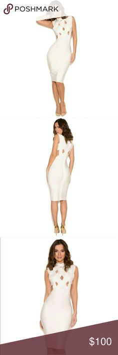 Celeb Boutique White Thick Bandage Dress L EUC Used but in excellent condition.  From the House of Celeb Boutique.  Very Sexy. Celeb Boutique  Dresses