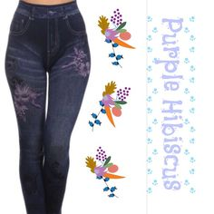 "PURPLE HIBISCUS PAINTED DESIGN JEGGINGS! More comfy cuteness in these Purple Hibiscus jeggings. Adorable faux pockets with beautiful designs. Fits sizes 6-16. Great for every day and Super stretchy! 95% polyester/5% spandex. Easy way to spruce up that t-shirt!                                                   ♦️waist 25-42""  hips 28-54""  inseam 25-34"" tla2 Pants Leggings"