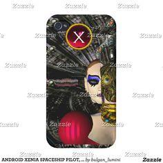 ANDROID XENIA SPACESHIP PILOT, Gem Monogram Sci Fi iPhone 4/4S Cases #robot #tech #scifi #3d #robotics #geek #cyborg