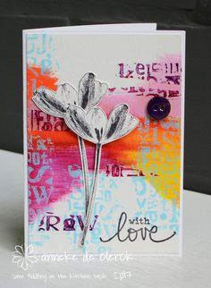 This card would fit my 'Tulips' series but in fact I made it for Darkroom Door, with the new Alphabet Texture Stamp .     Deze kaart zou ...