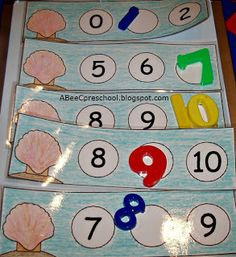 Ocean or Beach Theme: we filled in the missing numbers on a magnetic board. A, Bee, C, Preschool