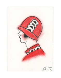 Art Deco Art Drawing Millie in Red - Original Charcoal and pastel