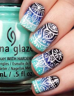 59 Pictures of Blue Nail Art Designs 2019 - Nails C Blue Nail Designs, Nail Polish Designs, Tribal Designs, Awesome Nail Designs, Pretty Designs, Blue Design, Nails Design, Gel Polish, Nagellack Design