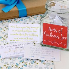 'acts of kindness' cards in a jar by the green gables | notonthehighstreet.com