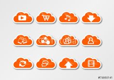 cloud computing technology sticker orange