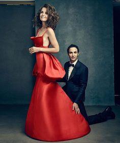 """Last one, promise! That dress!!  @katieholmes212 @zac_posen @simondebeaupre  @millermobley | @genevieveherr #hairbyme"""