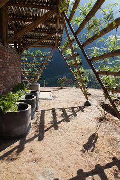 Toigetation by H&P Architects is a bamboo toilet block covered in plants Bamboo House, Bamboo Garden, Natural Structures, Garden Structures, Timber Architecture, Landscape Architecture, Interior Barn Door Hardware, Urban Design Concept, Bamboo Structure