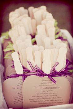 Handmade fans for an outdoor wedding